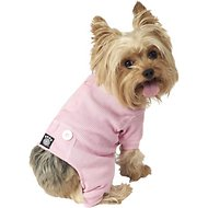 PetRageous Designs Cozy Thermal Dog PJs, Pink with White Stitching, X-Small