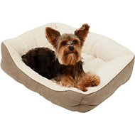 Frisco Rectangular Bolster Pet Bed, Khaki Green, Small