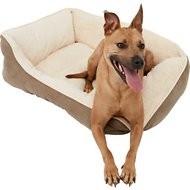 Frisco Rectangular Bolster Pet Bed, Khaki Green, Large