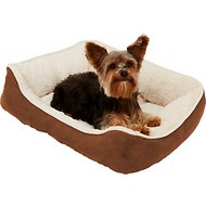 Frisco Rectangular Bolster Pet Bed, Brown, Small