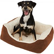 Frisco Rectangular Bolster Pet Bed, Brown, Medium