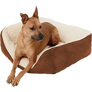 Frisco Rectangular Bolster Pet Bed, Brown, Large