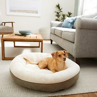 Frisco Round Bolster Pet Bed, Khaki Green, Medium