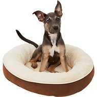 Frisco Round Bolster Pet Bed, Brown, Small