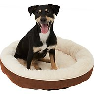 Frisco Round Bolster Pet Bed, Brown, Medium