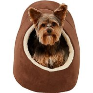 Frisco Cave Covered Cat & Dog Bed, Brown