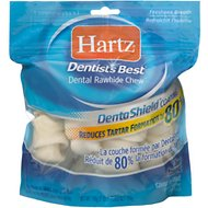 Hartz Dentist's Best Rawhide Dentashield Bone Dog Treats, 7-oz