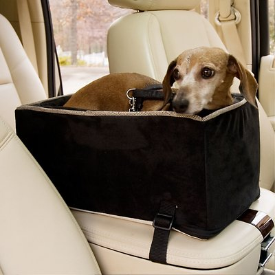 Snoozer Pet Products Luxury Microfiber Console Dog Cat Car Seat Black Large