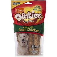 Hartz Oinkies Pig Skin Twist Wrapped with Real Chicken Dog Treats, 8 count