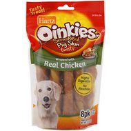 Hartz Oinkies Smoked Pig Skin Twist Wrapped with Real Chicken Dog Treats