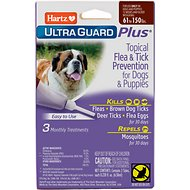 Hartz UltraGuard Plus Topical Flea & Tick Treatment for Dogs & Puppies 61-150 lbs, 3 treatments