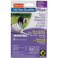 Hartz UltraGuard Plus Topical Flea & Tick Treatment for Dogs & Puppies 31-60 lbs, 3 treatments