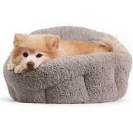 Best Friends by Sheri OrthoComfort Sherpa Deep Dish Cuddler Dog & Cat Bed, Grey