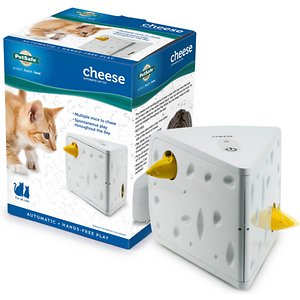 PetSafe Cheese Motion Cat Toy; Every cat loves a game of peek-a-boo, and with the PetSafe Cheese Cat Toy they can play all day long, even when you're not home. This interactive toy has two mice that pop out of each side of a block of Swiss cheese, enticing your cat to hunt and pounce. The Play While You Are Away mode keeps your kitties engaged throughout the day by turning itself on and off, for a total play time of 45 minutes over the course of six hours. Ensure your cats don't get bored while you're at work, out on the town or just unable to play all day.
