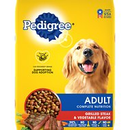 Pedigree Adult Complete Nutrition Grilled Steak & Vegetable Flavor Dry Dog Food, 17-lb bag