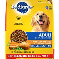 Pedigree Adult Complete Nutrition Roasted Chicken, Rice & Vegetable Flavor Dry Dog Food, 33-lb bag