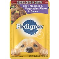 Pedigree Choice Cuts in Gravy Beef, Noodles & Vegetables Flavor in Sauce Wet Dog Food, 3.5-oz, case of 16
