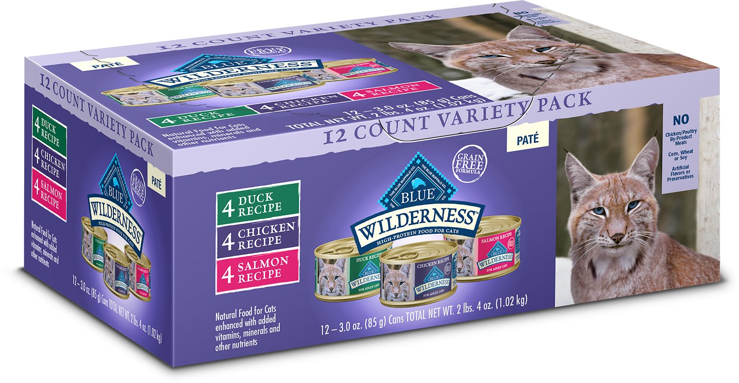 BLUE BUFFALO Wilderness Pate Variety Pack Duck, Chicken & Salmon Grain-Free Cat Canned Food, 3 ...