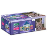 Blue Buffalo Wilderness Pate Variety Pack Duck, Chicken & Salmon Grain-Free Cat Food Trays, 3-oz, case of 12