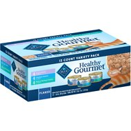 Blue Buffalo Healthy Gourmet Variety Pack with Flaked Tuna, Fish & Shrimp & Chicken Canned Cat Food, 3-oz, case of 12