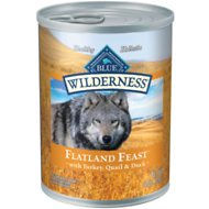 Blue Buffalo Wilderness Flatland Feast Turkey, Quail & Duck Formula Grain-Free Canned Dog Food, 12.5-oz can, case of 12