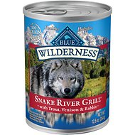 Blue Buffalo Wilderness Snake River Grill Trout, Venison & Rabbit Formula Grain-Free Canned Dog Food, 12.5-oz, case of 12