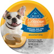 Blue Buffalo Divine Delights Sausage, Egg & Cheese Flavor Pate Dog Food Trays, 3.5-oz, case of 12