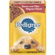 Pedigree Chopped Ground Dinner Bacon & Filet Mignon Flavor Wet Dog Food, 3.5-oz, case of 16