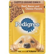 Pedigree Chopped Ground Dinner Beef, Bacon & Cheese Flavors Wet Dog Food, 3.5-oz, case of 16
