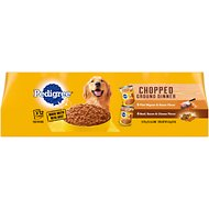 Pedigree Chopped Ground Dinner & Chunky Ground Dinner Variety Pack Canned Dog Food, 13.2-oz, case of 12