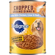Pedigree Chopped Ground Dinner Combo With Chicken, Beef & Liver Canned Dog Food, 22-oz, case of 12