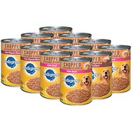 Pedigree Chopped Ground Dinner Variety Pack With Filet Mignon & Beef Canned Dog Food, 13.2-oz, case of 12