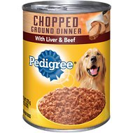 Pedigree Chopped Ground Dinner With Chopped Liver & Beef Canned Dog Food, 13.2-oz, case of 12