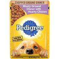 Pedigree Chopped Meaty Ground Dinner With Hearty Chicken Wet Dog Food, 3.5-oz, case of 16