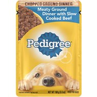 Pedigree Chopped Meaty Ground Dinner With Slow Cooked Beef Wet Dog Food, 3.5-oz, case of 16