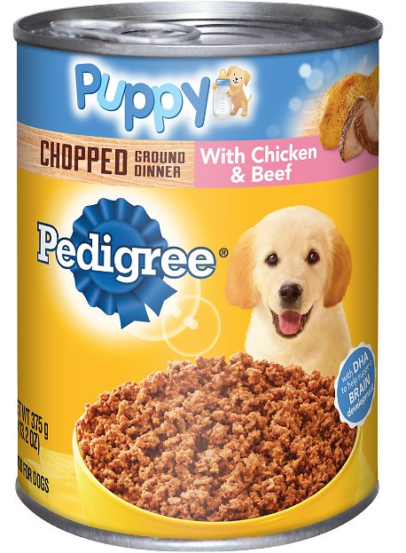 Pedigree Puppy Chopped Ground Dinner With Chicken Beef Canned Dog