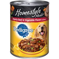 Pedigree Homestyle Meals Hearty Beef & Vegetable Flavor in Gravy Canned Dog Food, 13.2-oz, case of 12
