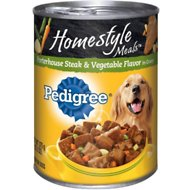 Pedigree Homestyle Meals Porterhouse Steak & Vegetable Flavor in Gravy Canned Dog Food, 13.2-oz, case of 12