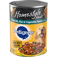 Pedigree Homestyle Meals Prime Rib, Rice & Vegetable Flavor in Gravy Canned Dog Food, 13.2-oz, case of 12