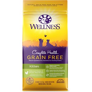 Wellness Complete Health Natural Grain Free Deboned Chicken & Chicken Meal Dry Kitten Food, 2.25-lb bag; Wellness Complete Health Natural Grain Free Deboned Chicken & Chicken Meal Dry Kitten Food provides a tasty, grain-free meal in an easy to feed dry food that's specifically formulated to match the needs of your growing kitten. This recipe features all-natural ingredients and super nutrients for a wholesome formula full of balanced proteins, antioxidants and probiotics. Each recipe is made in North America and doesn't include any wheat, corn, soy, meat by-products, artificial colors or flavors—just natural ingredients for a nutritious meal.