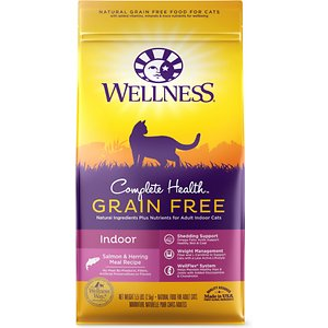 Wellness Complete Health Natural Grain Free Salmon & Herring Dry Cat Food, 5.5-lb bag; Wellness Complete Health Natural Grain Free Salmon & Herring Indoor Dry Cat Food provides a tasty meal in an easy to feed dry food that's specifically formulated to match the needs of your kitty. This recipe focuses on cats who live indoors and includes all-natural ingredients for a wholesome meal full of quality proteins. Each recipe is made in North America and doesn't include any wheat, corn, soy, meat by-products, artificial colors or flavors—just natural ingredients for a nutritious meal.