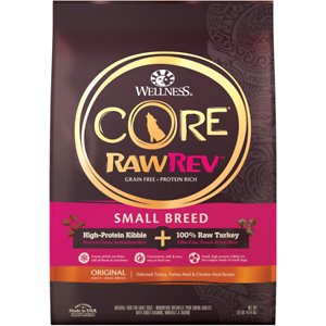 Wellness CORE RawRev Grain-Free Small Breed Original Recipe with Freeze Dried Turkey Dry Dog Food, 10-lb bag; Wellness CORE RawRev Grain-Free Small Breed Original Recipe with Freeze Dried Turkey Dry Dog Food provides your dog with pure protein, natural enzymes and full flavor for a formula they'll crave. Each recipe is carefully prepared to ensure the highest levels of quality and safety and is even designed for smaller mouths. This grain-free diet is made with delicious premium proteins, including turkey and chicken mixed with freeze-dried raw turkey, which makes it a convenient and safe way to introduce raw foods into your pup's diet without upsetting his stomach or routine.