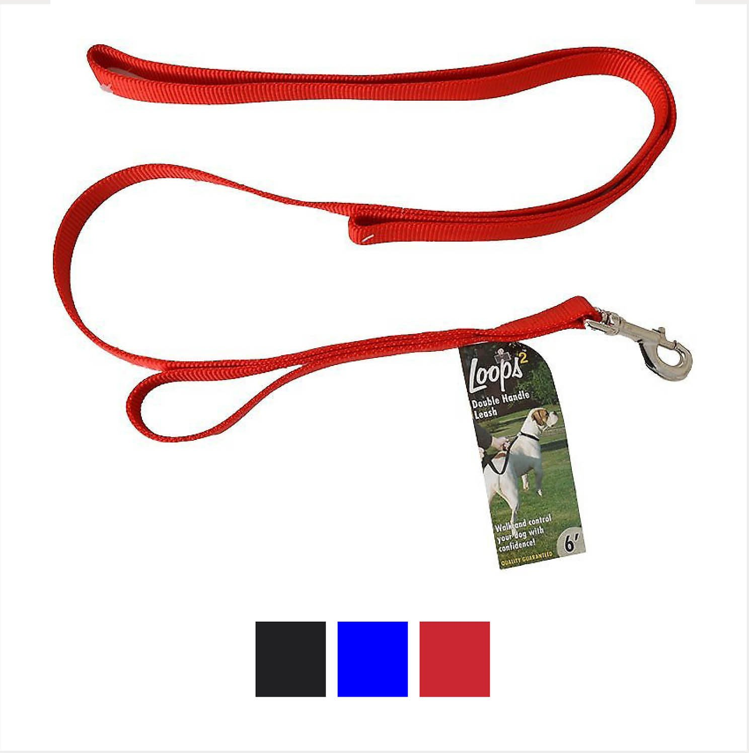 Loops 2 Double Handle Dog Leash Red Chewy Com