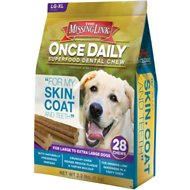 The Missing Link Once Daily For My Skin & Coat Dental Dog Chew, Large Breed, 28 count