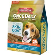 The Missing Link Once Daily For My Skin & Coat Dental Dog Chew, Small/Medium Breed, 28 count