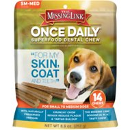 The Missing Link Once Daily For My Skin & Coat Dental Dog Chew, Small/Medium Breed, 14 count