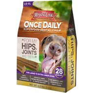 The Missing Link Once Daily For My Hips & Joints Dental Dog Chew, Large Breed, 28 count