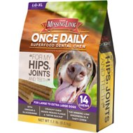 The Missing Link Once Daily For My Hips & Joints Dental Dog Chew, Large Breed, 14 count