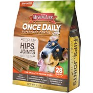 The Missing Link Once Daily For My Hips & Joints Dental Dog Chew, Small/Medium Breed, 28 count