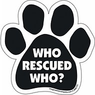 "Imagine This Company ""Who Rescued Who?"" Magnet, Paw Shape, Black"